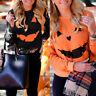 Womens Halloween Pumpkin Print Long Sleeve Sweatshirt Pullover Tops Blouse Shirt