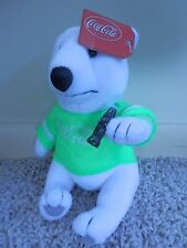 """Play-By-Play Coca Cola Plush Bear 7"""" Tall With Bottle /green shirt"""
