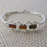 Genuine Multi-Color BALTIC AMBER Bangle in solid 925 STERLING SILVER #0051