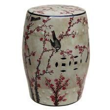 "Chinese Famille Rose Multicolor Bird Motif Round Garden Stool 18"""