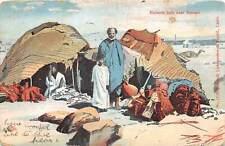 br106505 bitcharis huts near assuan egypt africa folklore costume litho