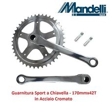 0285 Guarnitura Singola Crom. con Chiavelle 170x42T x bici 26-28 Fixed Scatto Fi