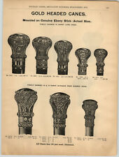 1894 PAPER AD 2 Sided Gold Knob Type Walking Cane Heads 16 Different Images