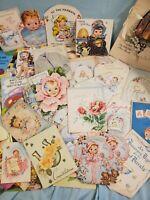Antique 2 Vintage Lot Greeting Cards, Stamps & Envelopes Ephemera Baby Get Well