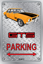 Parking Sign - Metal - HOLDEN HQ - GTS 4 DOOR - ORANGE - WIRE WHEELS