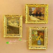 1/12 Dollhouse Miniature painting fresco/ gold frame picture/photo 3pieces