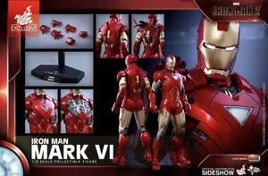 Sideshow Hot Toys 1/6 IRON MAN 2 MARK VI LED LIGHT UP MIB MMS339 MARVEL AVENGERS