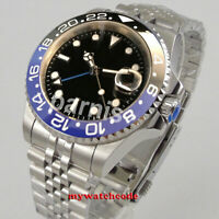 PARNIS black sterile dial jubilee strap Sapphire glass GMT automatic mens watch