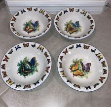 Butterflies Tabletop Unlimited Set Of (4) 8.25� Cereal Serving Bowls, New