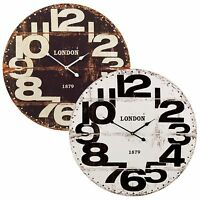 "Large Wood Vintage Wall Clock Round 24"" Display Big Decorative Retro Decor Art"