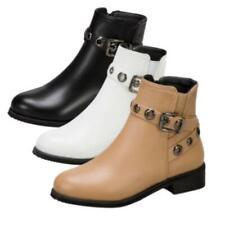 Новые женские удобные низкий каблук пряжка туфли дамские повседневные колледж ботильоны 44/48 D