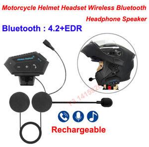 Rechargeable Motorcycle Helmet Headset Wireless Bluetooth Headphone Speaker New