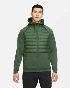 NIKE THERMA FULL-ZIP TRAINING JACKET GREEN,BLACK BV6298-337 MEN'S SIZE LARGE
