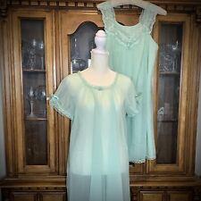 Vtg 60s Babydoll Peignoir Set, Vanity Fair, Pale Green, Sz S, Flouncy Pinup