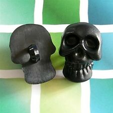 10 Large Skull Decor Halloween DIY Gothic Shank Sew On Button Size L Black K791