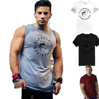 Men ALPHA Cotton Bodybuilding Gym Fitness Muscle Short Sleeve T-shirt Vest Tee