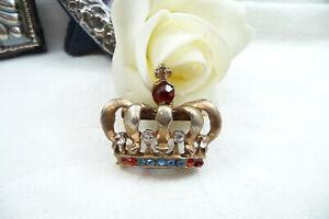 Vintage 50's Rhinestone Crown Brooch