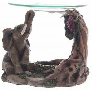 Elephant Oil Burner Realistic Aroma Fragrance Melts Candle Tealight Wax Box Gift