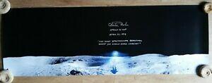 Charlie Duke Apollo 16 autograph signed 12x35 inches photo moonpanaroma with COA