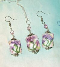 PURPLE FLORAL LAMPWORK GLASS PENDANT AND EARRING SET