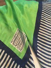 Vintage Bill Blass Large Silk Scarf 28 x 28 very green blue geometric