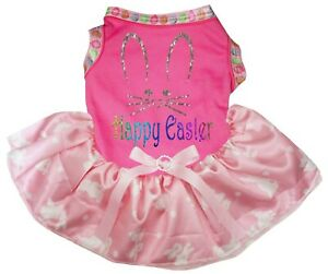Happy Easter Face Pink Top Pink White Bunny Tutu Pet Dog Dress Puppy Clothes