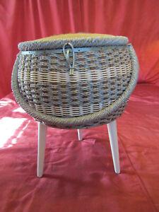 Mid Century Wicker Rattan Sewing Notion Storage Stool Box Vintage Taper Leg3