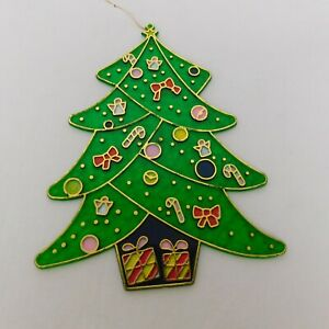 """Plastic Stained Glass Look Christmas Tree Suncatcher Ornaments Gifts Decor 9""""x7"""""""