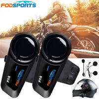 2X 1000M Motorrad Helm Gegensprechanlage Bluetooth Headset Hart Kopfhörer FM FX6