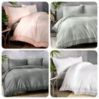 Appletree TASHA Duvet Cover Bedding Set 100% Cotton Luxury Pink Grey White Lace