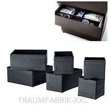 Ikea Ensemble de 6 Boîtes Rangement Skubb Regaleinsätze par 2x en 3 Tailles Noir