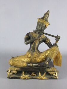 Piper Eastern Chunky Statue Bronze Of Xx Century Painted With Gold