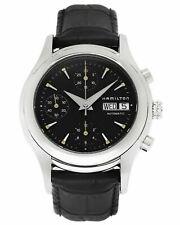 Hamilton Mens Lindwood Chronograph Black Leather Swiss Automatic Watch H18516731