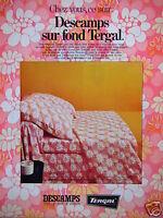 PUBLICITÉ 1969 DESCAMPS SUR FOND TERGAL TOUT LE LINGE DE MAISON - ADVERTISING