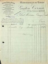 ROUEN FACTURE MERCERIE GASTON CORNU BOUGON-DUTOT SAINT-PIERRE-EN-PORT 1930