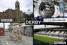 SOUVENIR FRIDGE MAGNET of DERBY ENGLAND