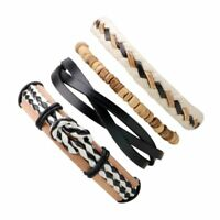 3pcs Fashion Mens Punk Leather Wrap Braided Wristband Cuff Punk Bracelet Bangle