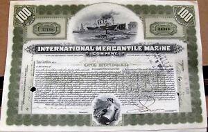 International Mercantile Marine stock certificate 1918-1919 signed JP Morgan by
