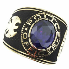 POLICE OFFICER PURPLE STONE GOLD SS RING SIZE 7 8 9 10 11 12 13 14