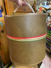 Mid Century Modern Vtg Chocolate Vinyl Wig Hat Box Travel Case Zipper 50's 60's