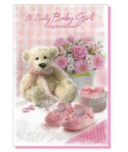 Birth of New Born Baby Girl Card - Teddy Bear Pink Birth Congratulations 28006