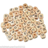 100 Holzperlen zum Fädeln Würfel Würfelperlen Buchstaben Speichelfest 10mm