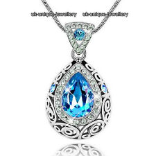 Ocean Blue Crystal Silver Pendant Necklace Love Xmas Gift For Her Wife Mum Women