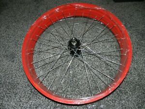 "NOS RED WIDE BICYCLE BIKE RIM with HUB 22 3/4"" DIAMETER x 4"" WIDE"