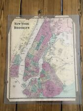 New York City NYC -1850s MAP OF MANHATTAN QUEENS & BROOKLYN-Vintage/Original