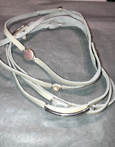 j jill Leather, Silver, Pearl And Mother Of Pearl Wrap Bracelet