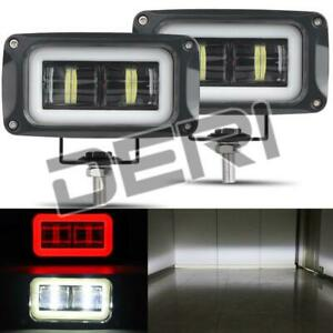 2PC 4in LED Work Light Bar Fog Lamp Red Halo Pods Offroad Driving Truck SUV ATV