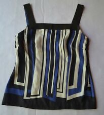 Ann Taylor Black/White/Blue Striped 100% Silk Sleeveless Women's Top Size 0