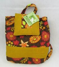 Sweet Olive Designs Quilted Backpack Tote Brown Pink Floral Purse New with Tag