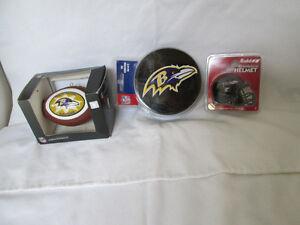 New Baltimore Ravens 5 CT Tin Coasters Football Ornament & Riddell Small Helmet